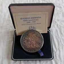 1988 monnaie royale 63 mm armada espagnole 400th Anniv Médaille Argent-Coffret/COA