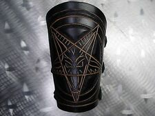 LEATHER CARVED PENTAGRAM GAUNTLET. BLACK METAL  (MDLG0329)..... SETHERIAL