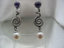novità orecchini a spirale ametista perle in argento 925 lavorazione artigiana
