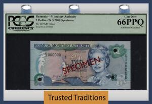 TT PK 50as 2000 BERMUDA 2 DOLLARS QUEEN ELIZABETH II SPECIMEN PCGS 66 PPQ GEM