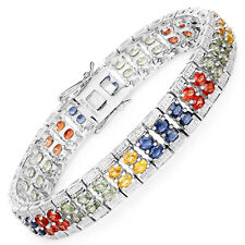 925 Sterling Silver Bracelet 16.72 ct Green Sapphire Oval Gemstone 7.75 inches