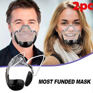 2PC Adult Durable Mask Face Shield Plastic Reusable Clear Transparent Protection