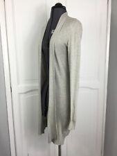 All Saints Open Cardigan Long Light Grey Size Uk 8 Silk & Cotton Mix Spring