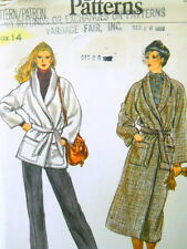 Vogue Sewing Pattern 7187 Womens Coat Jacket Belt Size 14 UNCUT 2 Styles Wrap