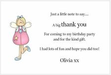 10 Personalised Thank You Cards - Birthday Party - Pink Angel with Envelopes