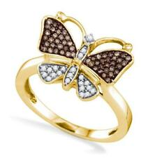 10K Yellow Gold Diamond Butterfly Ring Chocolate Brown & White Diamonds .22ct