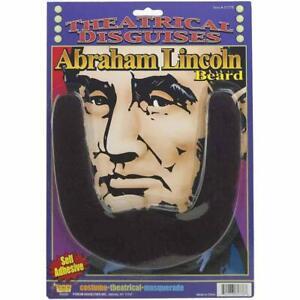 Abe Abraham Lincoln Black Beard USA Stick On Facial Hair Accessory Costume