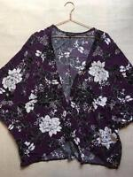 New Look Purple Floral Kimono Beach Pool Holiday Light Jacket Cover Up Size 12