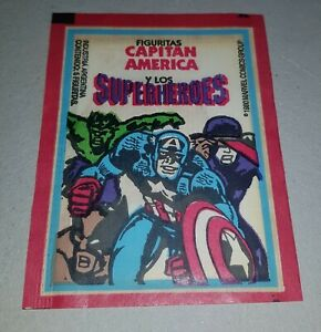 CAPTAIN AMERICA & SUPERHEROS Marvel Argentina 1980 UNOPENED stickers PACK