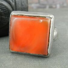 Rustic Square Amber Colored Stone in Silver Ring