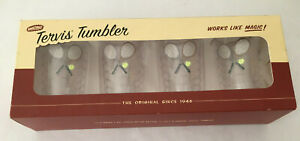 4 Tennis Rackets & Balls Insulated Tervis Tumbler Cups 10 Ounces NOS New In Box