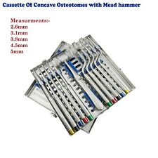 Dental Sinus Lift Implants Cassette Of Osteotome Concave Offset with Mead Hammer