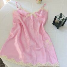 Large Pink Ivory Lace Gown Slip Lace Trim Beaded Lingerie Dollskill