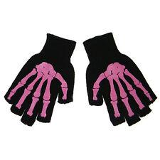 Misfit Pink Skeleton Bones Fingerless Mens Black Work Gloves Gothic Horror Punk