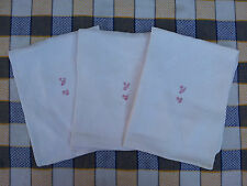 Lot de 4 anciennes serviettes de table monogramme  linge ancien  french antique