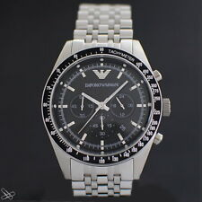 Emporio Armani Herrenuhr Chronograph AR5988 Edelstahl Sportivo Farbe Silber Schw