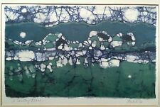 """Stuart abstract painting on cloth """"A Country Place"""" 18.25×15.25 inches"""
