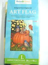 "Bluebirds, Pumpkin, Fall Leafs & Daisies Garden Flag 28"" X 40"""