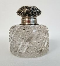 Huge Antique Repousse Sterling ABP Brilliant Cut Glass Inkwell George Shiebler