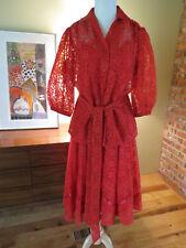 New VTG Red Lace square dance skirt blouse sash cami Dress Costume M