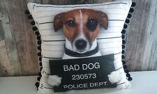 Kissen Hund Jack Russell Bad Dog Pompomborte schwarz weiß 42 x 42 cm Dekoration