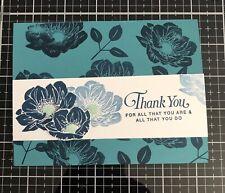 """Card Kit Set Of 4 Stampin Up Floral Essence Dapper Denim """"Thank You"""""""