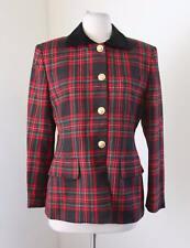 Lauren Ralph Lauren Red Green Plaid Wool Blazer Jacket 4 Velvet Collar Holiday