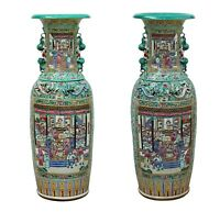 Pair Chinese Pink Turquoise House Warfield Scenery Graphic Tall Vases cs3525