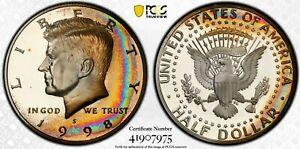 1998-s silver Kennedy Half Dollar PCGS PR67DCAM ( rainbow toning )
