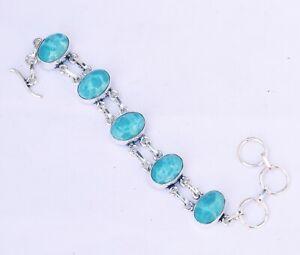 "Blue Larimar  Gemstone Handmade 925 Sterling Silver Jewelry Bracelet Sz 7-8"""