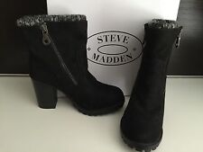 New Steve Madden Black Suede Knit Ankle Heel Boots Shoes 8