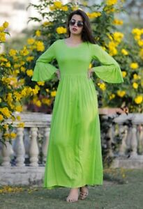 Stylish Green Backless Rayon Fabric Bell Sleeves Long Kurti Party wear Gown