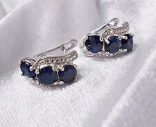 STUD EARRING NATURAL BLUE SAPPHIRE 925 STERLING SILVER 3 GEMSTONE BRIDAL EP GIFT