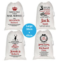 PERSONALISED MERRY CHRISTMAS LARGE SANTA WHITE SACK BAG STOCKING KIDS PET SACKS