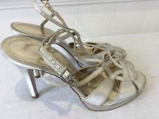 Monsoon Silver Gris Con Tiras Tacón Alto Zapatos Talla 7/41 Reino Unido Boda, ocasiones especiales