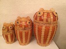 3 Pièce de Nidification Russe Owls, bois/osier NEUF