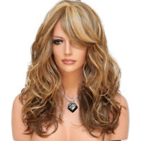 Fashion Women Curly Hair Full Wig Synthetic Natural Long Wavy Ombre Blonde Wig