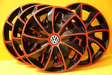 "4x16"" VW TRANSPORTER T5,Sharan,Golf,Eos...WHEEL TRIMS,COVERS,HUB CAPS,Red&Black"