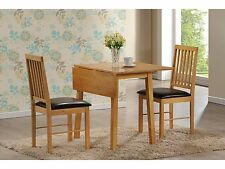 Palma Oak Finish Dining Table and 2 Faux Leather Chairs - Drop Leaf