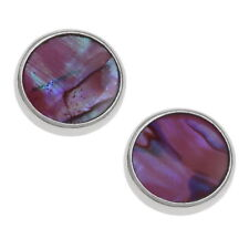 Pink Abalone /  Paua Shell Round Circle Silver Stud Earrings