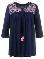 Ulla Popken top blouse plus size 20/22 24/26 navy blue gypsy tassel peasant