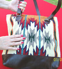 "1 Quantity-Southwest Style Wool/Faux Leather Tote 15"" x 16""(HIARTPURSE-G)"