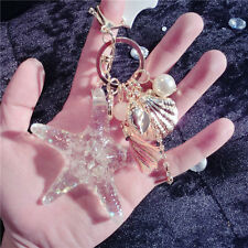 Cute Starfish Shell Key Chain Crystal Pendant Keyring Keychain Keyfob Gift NEW
