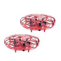 2Piece Hand-Controlled Mini Drone UFO Kids Adults Suspension Flying Toys Red