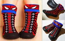 Spiderman Baby Toddler 2 Ways Wear Boots Shoes Sock W Soft Rubber Sole Size 6.5