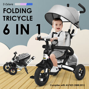 Kids Tricycle 6 IN 1 Folding Ride On Trike Toddler Learning Stroller Bike Toy