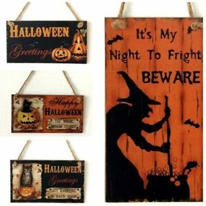 Wooden Halloween Hanging Sign Indoor Outdoor Door Wall Hanging Board Decoration