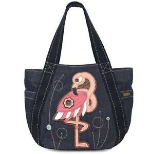 Chala Purse Handbag Leather & Canvas Carryall Tote Bag Fun Flamingo