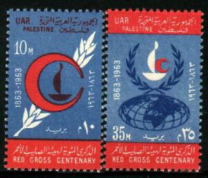 Palestine 1963 MNH 2v, Red Cross, Red Crescent, Globe