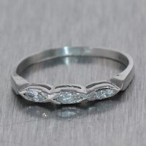 1930's Antique Art Deco Platinum 0.15ctw Marquise Cut Diamond Wedding Band Ring